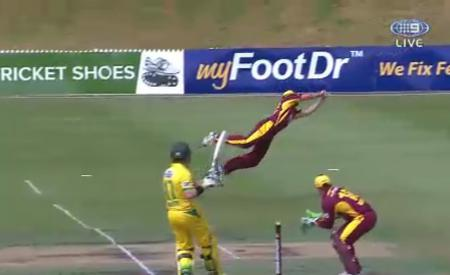 Joe Burns gets near horizontal to take a spectacular catch during the Matador in his Custom Cricket Shoes