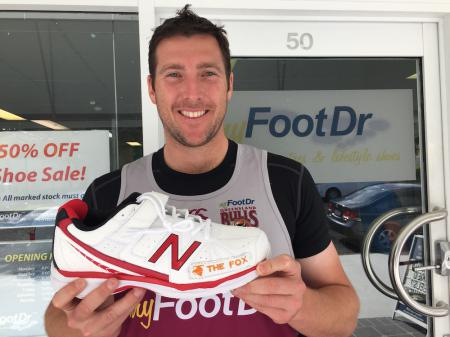 "QLD Bulls' Fast Bowler Luke ""The Fox"" Feldman at my FootDr podiatry centres with his customised New Balance 4040V2 Cricket Shoes"