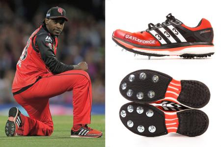 Chris Gayle with his Adidas GAYLEFORCE 333's on the field