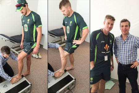 Mitchell Stark, David Warner, and James Faulkner