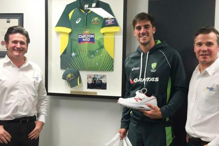 Pat Cummins from the Australian Cricket Team with Greg Dower & D
