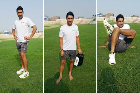 Imran Khan for Pakistan on the field with his Asics