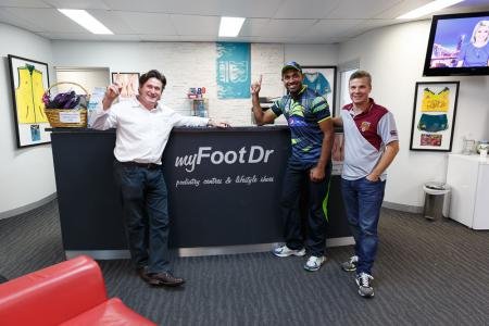 Pakistan Paceman Wahab Riaz at my FootDr with Greg Dower & Darre