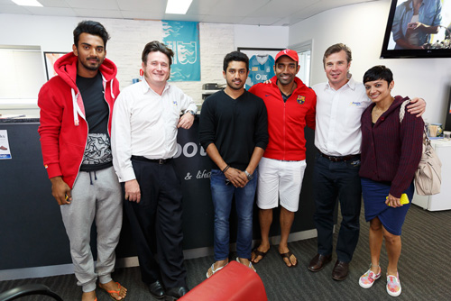 Greg Dower & Darren Stewart with members of the India A Cricket Team at my FootDr